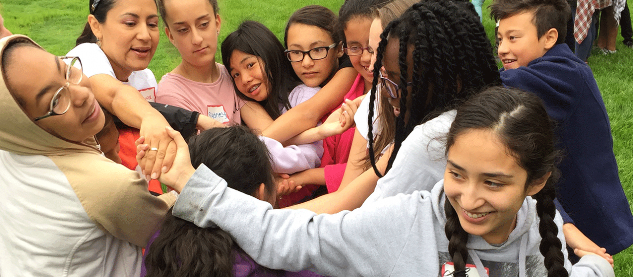 campers participating in team-building exercises